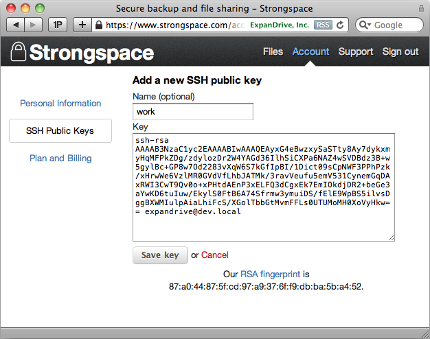 Password-less login to Strongspace with SSH Keys | ExpanDrive